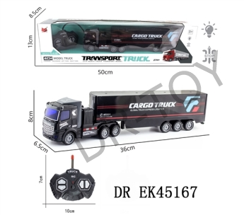 1:48 four-way remote drag head light container truck (flat) with USB charging line lithium batteries