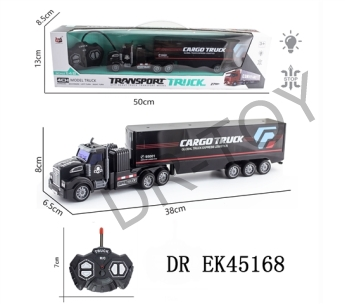 1:48 four-way remote drag head light container truck (oil) with USB charging line lithium battery