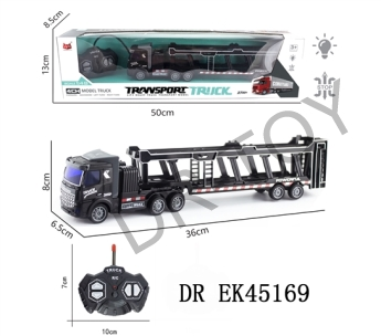 1:48 four-way remote drag head light vehicle transporter (flat) with USB charging line of lithium ba
