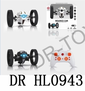 Black/white 2.4 G remote control car bounce light music 70 cm high jump forward force back turn left